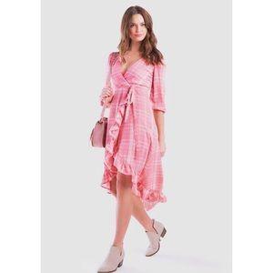 NWT Francesca MiAmi Pink Plaid Ruffle Wrap Dress S